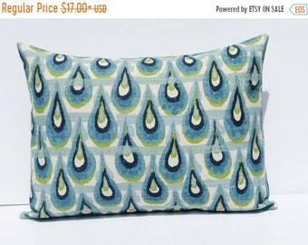 15% Off Sale Lumbar Pillow Cover Burlap Pillow Cover Ikat Pillow Blue Green Travel Pillow  ONE 12x16, 12x18, 16x20 or 16x24 Accent Pillow De