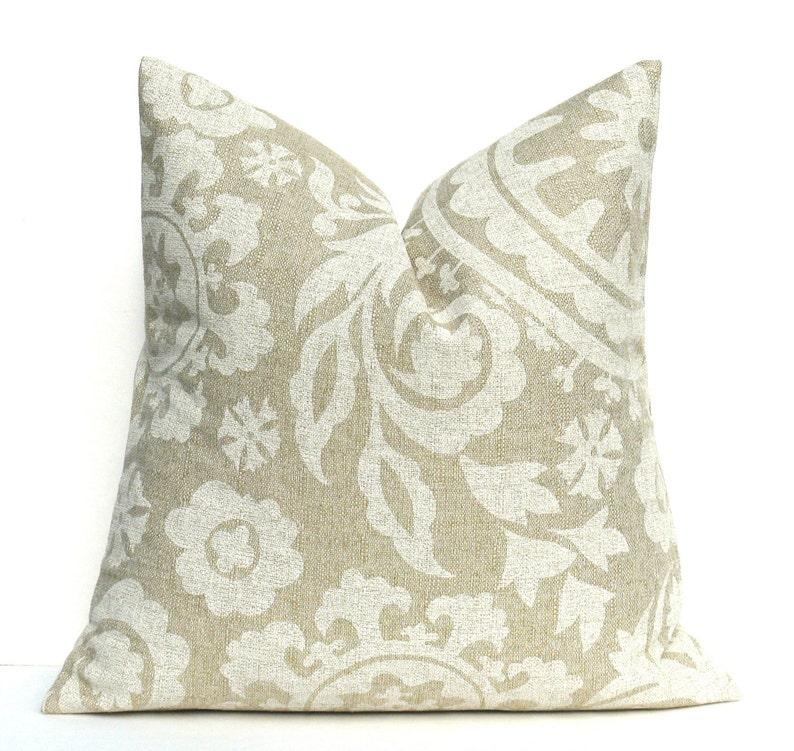 SALE Pillow Cover  Burlap Pillow Tan Pillow Suzani  Cream image 0