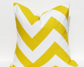 15% Off Sale YELLOW PILLOW COVER Decorative Pillows  Yellow Pillow Chevron Pillow Large Chevron.Housewares.Pillows.Cushions