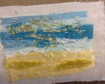 Mixed Media Textile Art - The Sea
