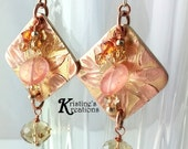 Geometric Flower Earrings,Bronze and Copper Inlay Metal Clay,Copper Chain,Swarovski Crystals,Striated Peach Quartz,Sterling Silver Beads