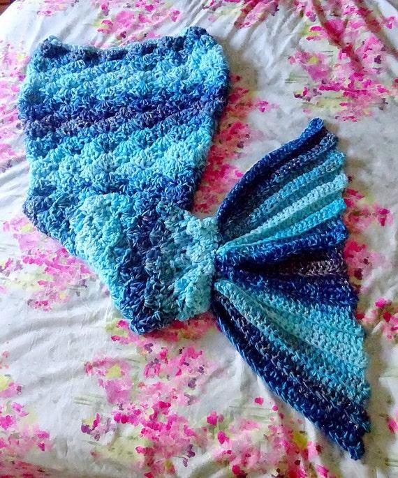 Crochet Mermaid Tail Blanket In Blue Shades Etsy