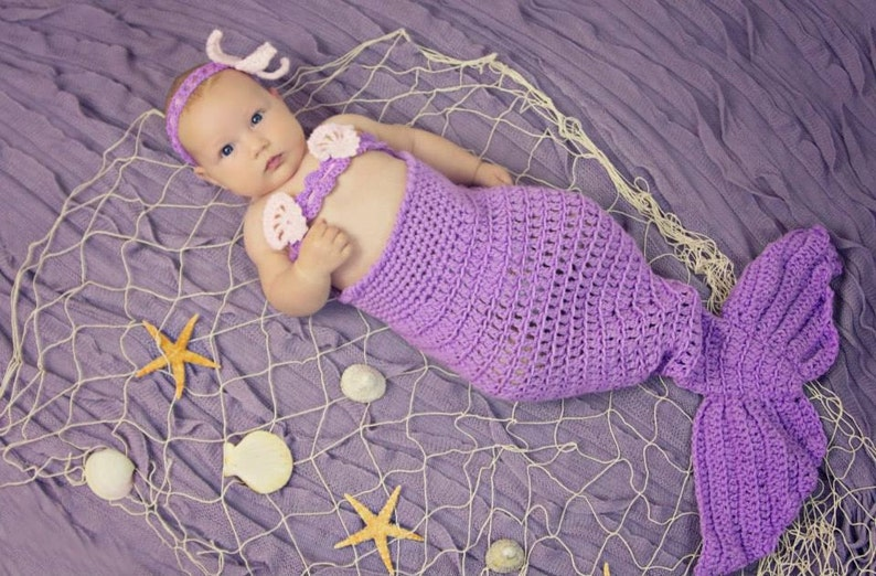 purple pink mermaid tail 3T-4T 3-4 years Baby Girl mermaid set mermaid outfit mermaid costume,Halloween crochet mermaid photo prop.