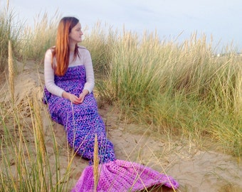 Crochet Mermaid Tail Blanket Chunky Cosy Snuggle Sack in Baby, Child and Adult sizes.  gift for women, girls Handmade in UK