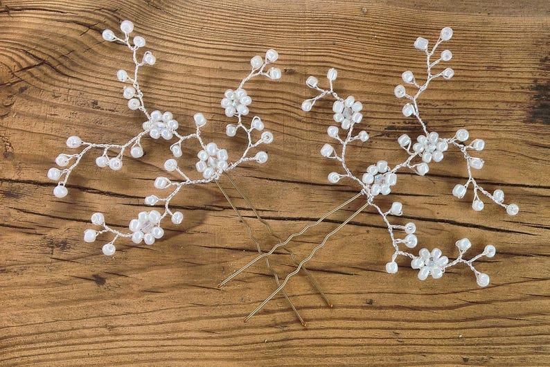 bridesmaid flower girl Prom bun pins hair vine bride Beaded wedding hair pins Party,UK,set of 2
