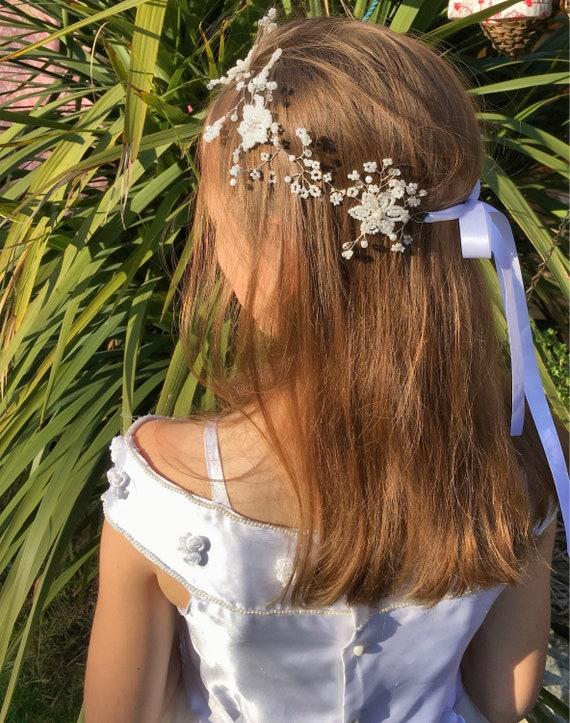 wedding crown,bridal headpiece baby/'s breath faerie woodland silver toned wire boho first communion bridal crown Childs Flower crown