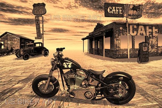harley davidson bobber moto route 66 nostalgique road trip art etsy. Black Bedroom Furniture Sets. Home Design Ideas