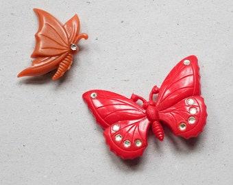Butterfly Brooch Pin Orange Red