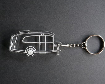 My Design of a Airstream Basecamp  Camper Key Chain back pack luggage tag small gift