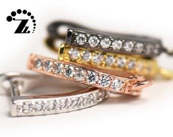 CZ Micro Pave Leverback Ear Hooks,GoldPlatinumRose GoldGun Black Plated,Copper Ear Hooks,Earring Hooks,Jewelry Component,12x17mm,5 pairs