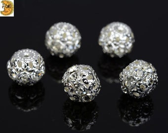 50 pcs of Rhinestone Copper round ball spacer bead clear 4bb3d182f1bf
