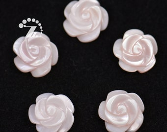 10pcs 25x27mm Natural MOP Flower Beads Mother of Pearl Carved Flower Beads XYE16