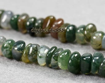 15 inch strand of Moss agate chip beads,nugget beads 7-8mm