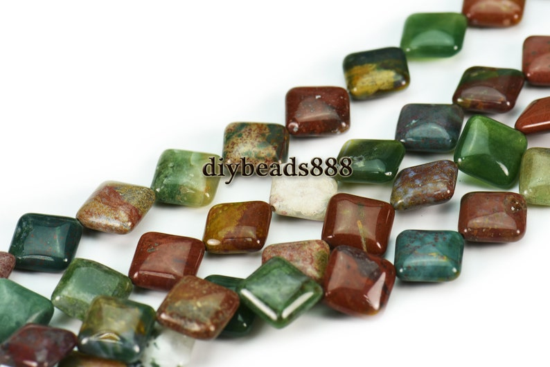 India Agate 15 inch full strand natural India Agate smooth diamond beads,diagonal square beads 14x14mm 16x16mm for Choice