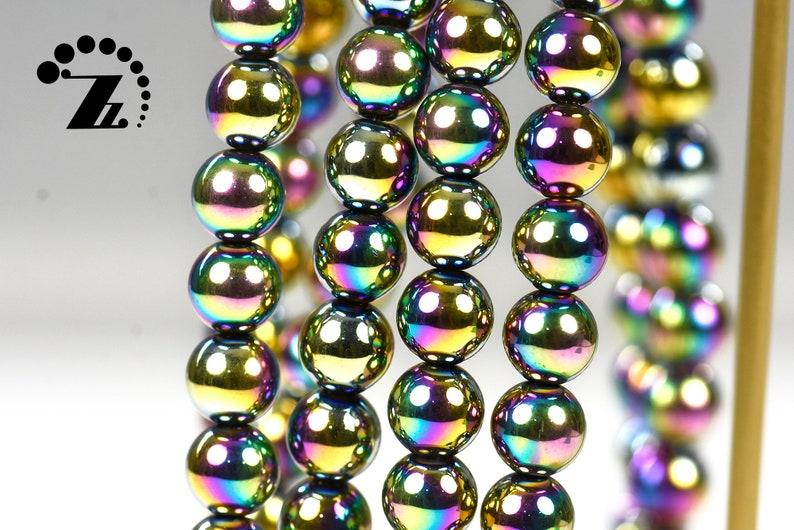 Hematite smooth round bead,Rainbow hematite,electroplated hematite,Grade AA,gemstone,diy,4mm 6mm 8mm 10mm 12mm,15 full strand