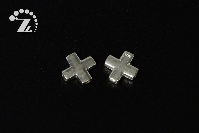 delicate pendant,necklace connector,8x8mm 2 pcs solid 925 Sterling silver cross  pendent,cross hole