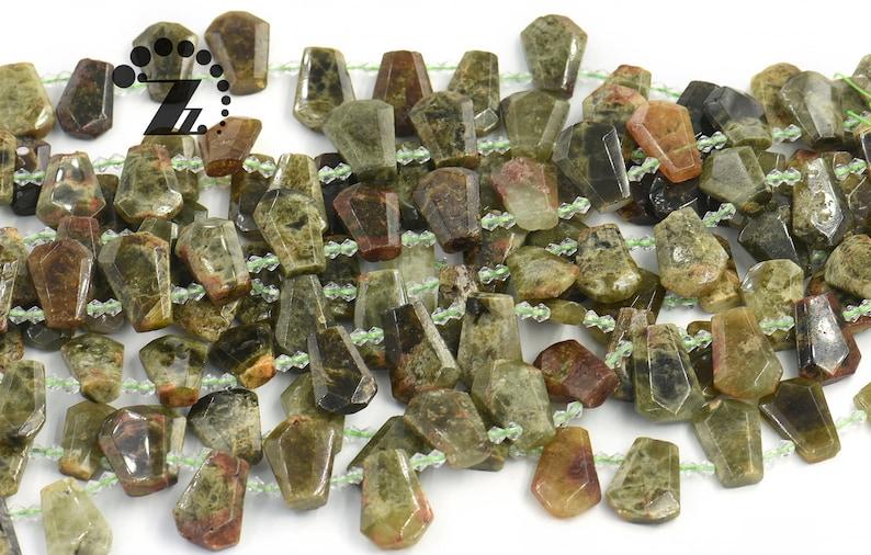 Green garnet faceted teardrop bead,Irregular beads,Genuine,Gemstone,DIY beads,jewelry making supplies,19-22x23-30mm,15 full strand