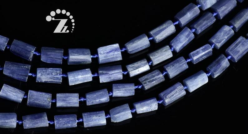 Blue Kyanite faceted rough nugget bead,raw nugget,nugget tube,Irregular bead,Genuine,natural,gemstone,Grade A,6-8x11-12mm,15 full strand