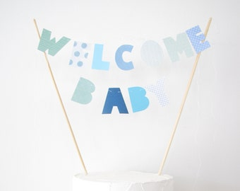 Welcome Baby Cake Topper, Cake Banner, Personalized Cake Bunting, Custom Party Decor, blue dots chevron geometric, It's a boy, baby shower
