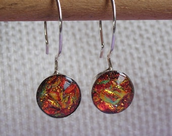 Earrings in sterling silver and dichroic glass in autumn colors