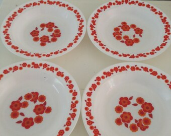 Arcopal France Lotus plates, deep dinner plates 4, vintage glass plates france, french vintage plates