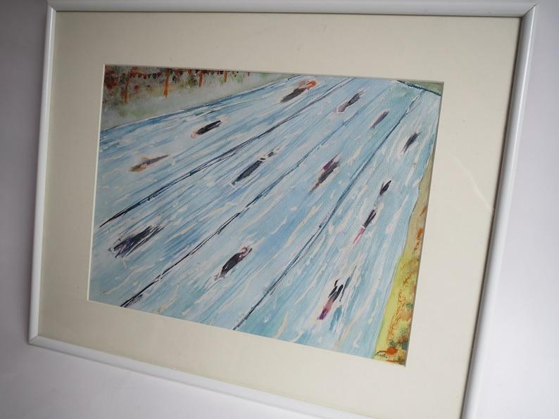 Swimming pool painting, watercolor painting swim race, swim fine art, dutch  art