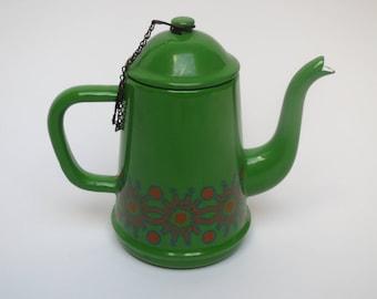 Enamel coffeepot, vintage enamel, retro green enamel pot, enamel kettle