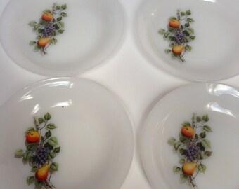 Vintage Arcopal Fruits de France plates  4 x retro vintage plates Arcopal France