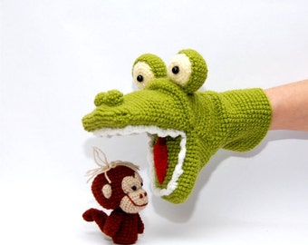 crochet alligator hand puppet and 3 or 5 monkeys finger puppets, amigurumi animals, autumn toys