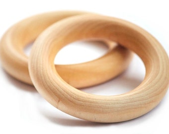 Wooden Teething rings - Baby Gift - Set of two - Natural Wooden Baby Toy - Waldorf Baby