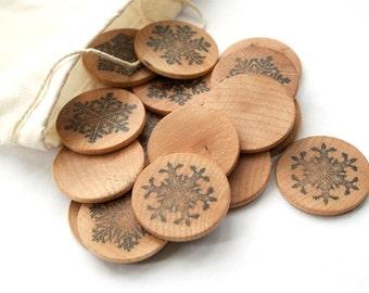 SALE - Winter Snowflake Matching Game - Montessori Travel Games - Waldorf Toys - Natural Organic Wooden Toy