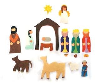 Felt Nativity Set -Felt Set - Flannel Board Stories - Montessori Preschool Toys - Christmas - Bible Stories