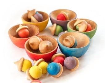 Montessori - Rainbow Stacking Bowls and Acorns - Waldorf Toy -  Color Matching - Sorting Bowls - Toddler Christmas Gift