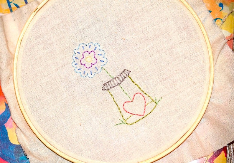 Valentine's Day Hand Embroidery Pattern  Heart Blossom image 0