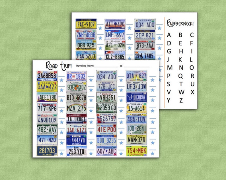 Travel Game  License Plate Rubber Neck Road Trip Games  image 0