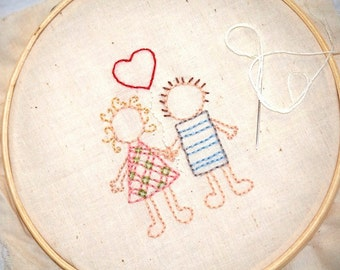 Love Hand Embroidery Pattern - Wedding couple with Heart - Instant Download