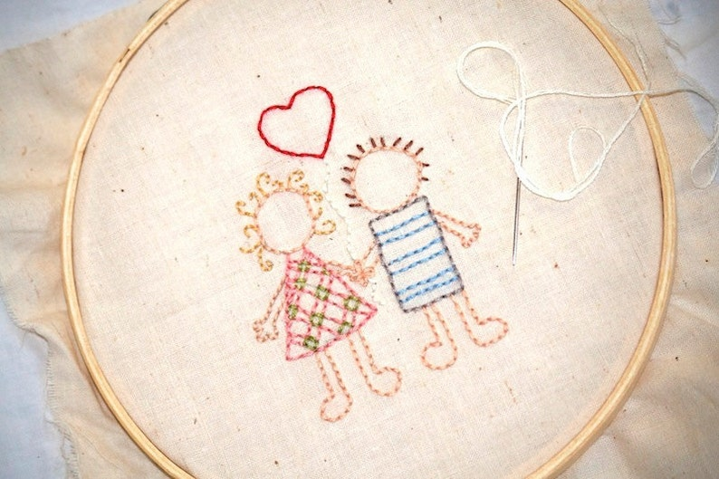 Love Hand Embroidery Pattern  Wedding couple with Heart  image 0