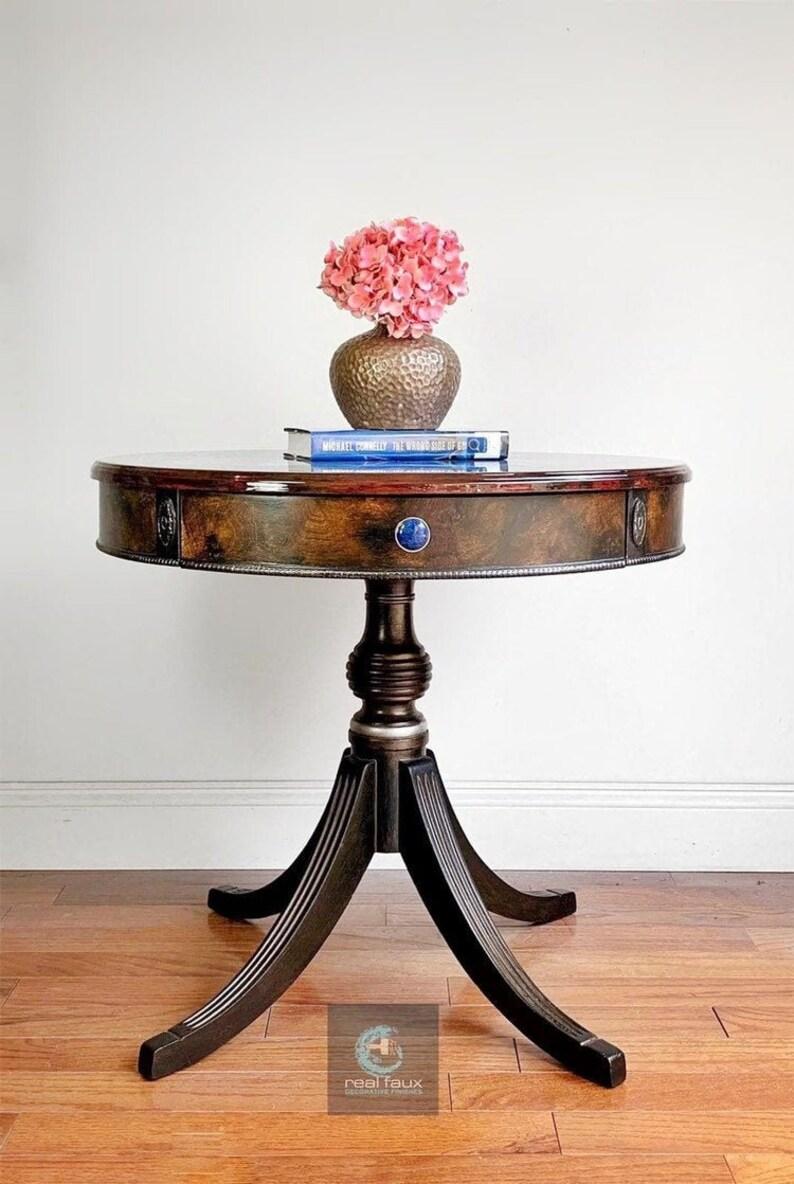 Round table with lapis lazuli malachite and macassar ebony image 1