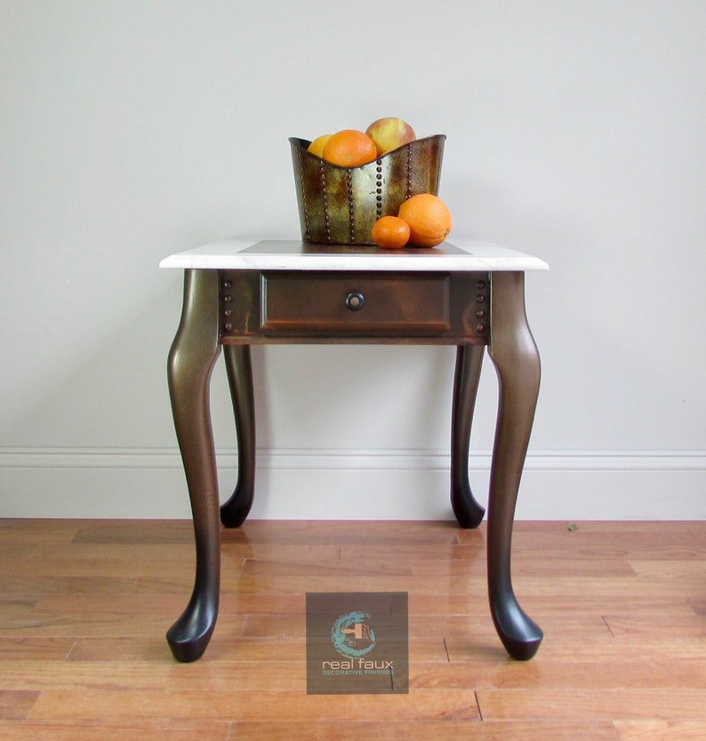 Industrial Decor Urban Chic End Table Rusted Marble Side image 1