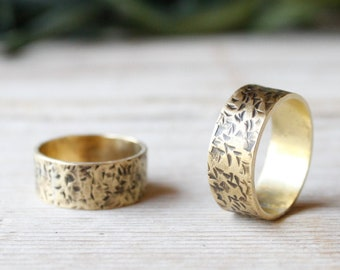 Wide gold band ring handmade with hammered brass. Band ring for men and women made to measure