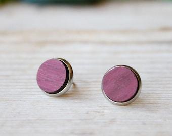 Fake plug geometric round earrings, Wood and steel lobe earrings, natural wood earrings, man earrings, minimal purpleheart wood earrings