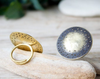 Gold ring handmade adjustable, dainty sun eclipse ring, open ring round geometric, gold moon ring, rings for women, open adjustable rings