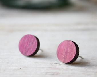 Purple wood round earrings for men and women. Fake gauge stud earrings, handmade with natural wood