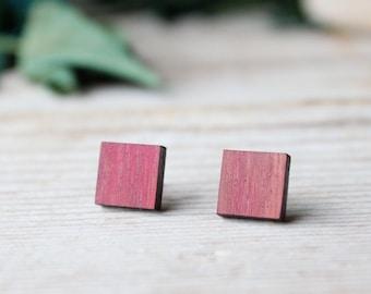 Wood earrings men, square earrings studs, red natural purpleheart wood and steel stud earrings, wood stud earrings, wood earrings rectangle