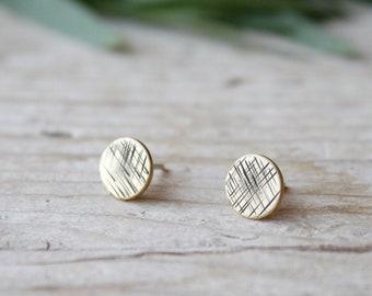 Round tiny stud earrings, gold lobe earrings, men stud earrings, handmade brass earrings, statement earrings, gifts for women, jewelry gift