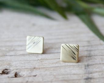 Square tiny stud earrings, gold lobe earrings, men stud earrings, handmade brass earrings, statement earrings, gifts for women, jewelry gift