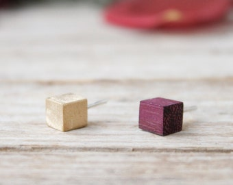 Wood earrings studs, cube earrings, mismatched stud earrings, handmade in golden brass and natural color woods with silver stud