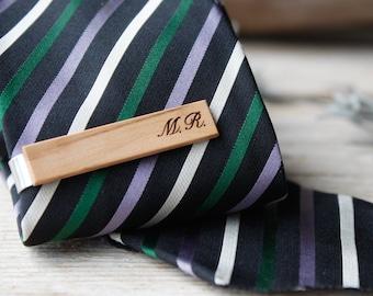 Tie clip custom for men, tie clip wood, tie clips groomsman, tie clip for groom, groomsman tie bar, stainless steel and precious olive wood