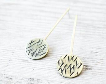 Gold dangle earrings, handmade brass and silver earrings, statement earrings, gifts for women, minimal jewelry gift