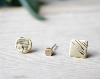 Set of Three Tiny Studs earrings, Geometric Jewellery, Mismatched Studs, Tiny Earrings, Handmade Jewelry, mismatched lobe brass earrings
